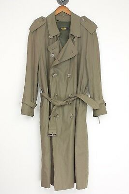 Brooks Brothers Mens Trench Coat 40R Double Breasted Taupe Removable Lining USA