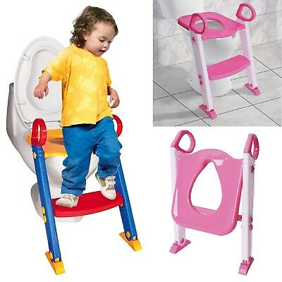Teddie Kids Baby Child Toddler Potty Loo Training Toilet Seat With Step Ladder