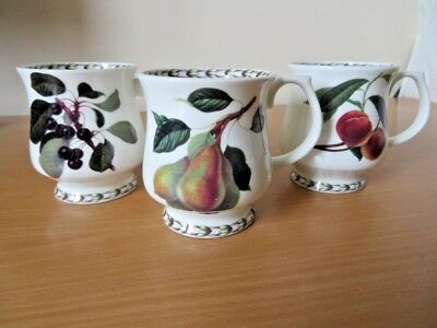 3 x QUEENS for RHS HOOKERS FRUIT CHINA MUGS V.G.COND