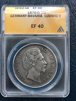1876-D Germany-Bavaria 5 Mark ANACS EF40 German Empire Silver Coin Crown Dollar