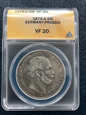 1876-A Germany-Prussia 5 Mark ANACS VF20 German Empire Silver Coin Crown Dollar
