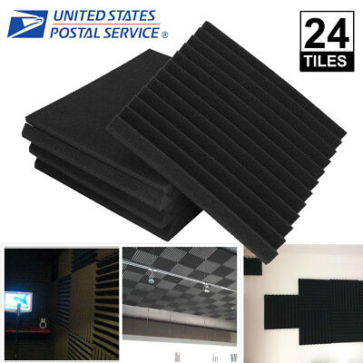 24 Pack Black Acoustic Wedge Studio Soundproofing Foam Wall Tiles 12x12x1