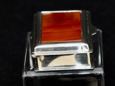 Superb Solid Silver 925, Pillbox With One Agate Camelian Panel, Hinged Lid Heavy