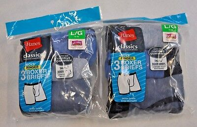 Brand New in Package Tagless Hanes Boys Boxer Briefs 6 Pair Size L 14-16