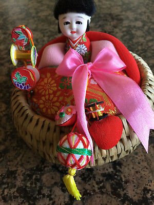 Japanese Ejiko Ningyo Doll in Basket with Toys Mint Condition in Original Box