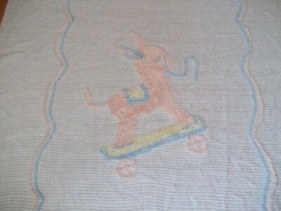 "Vintage Toddler Donkey Chenille Bedspread Coverlet 41"" X 63 1/2"""
