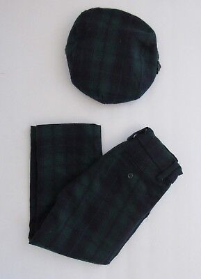 Janie and Jack Toddler Boy 3t Holiday Navy Green Plaid Tartan Wool Matching Hat