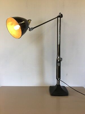 Rare Vintage Early Industrial Hinders Anglepoise Style Black Desk Lamp