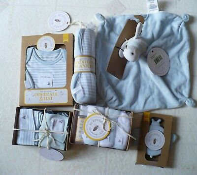 New Burts Bees Blue Baby Boy 0 - 3 Mths Swaddle Blanket Coverall Hat Hold me Bee