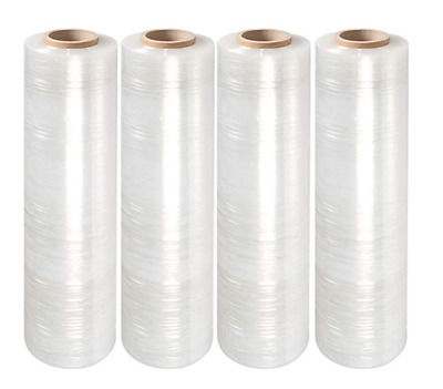 "4Rolls Clear 18""x1500FT 80 Gauge Pallet Wrap Stretch Film Shrink Hand Wrap 1500'"