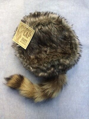 COON SKIN CAP Hat Davy Crocket Raccoon Coonskin REAL COON TAIL - Adult Size