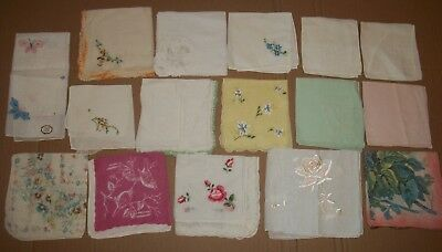 Vintage Ladies Handkerchiefs, Mixed Lot of 17 Floral, embroidered Hankies