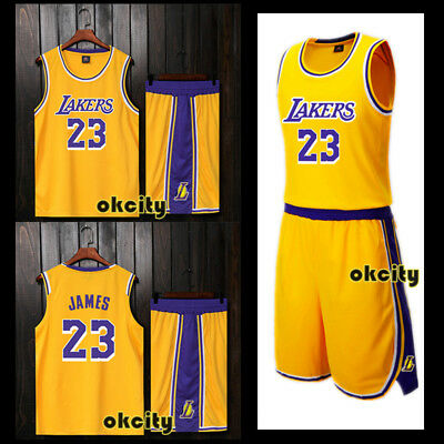 #23 LeBron James 2018/19 Retro Los Angeles Lakers NBA Jersey Men Kid Top Shorts