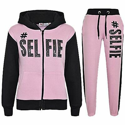 Kids Girls Tracksuit Designer #Selfie Baby Pink & Black Top Bottom Jogging Suits