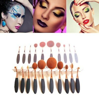 10Pcs Makeup Brushes Set & Oval Cream Eyeshadow Eyeliner Toothbrush Professional