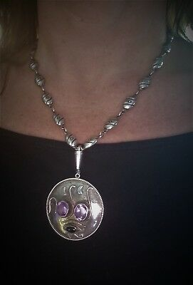 Vintage custom Amethyst 925 Sterling Silver Pendant Necklace with Earrings