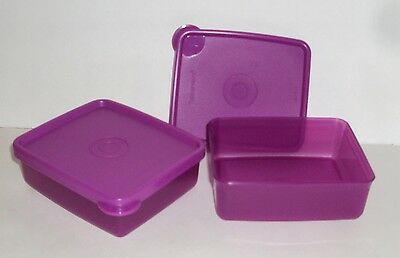 New Tupperware Mini Square Aways Containers Set of 2 Purple