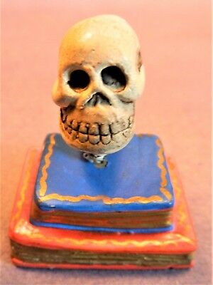 """Day of the Dead Minature Clay Skeleton Skull on Books/ 2""""Tall/ 2"""" Wide/1988"""