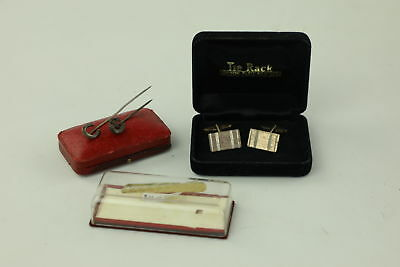 4 x .925 Sterling Silver Cufflinks & Tie Clips inc. Gold Plated, Antique 16g