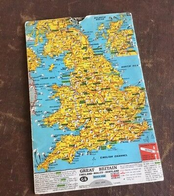 Vintage BENCO Great Britain MILEAGE Map DISTANCE between Cities/towns