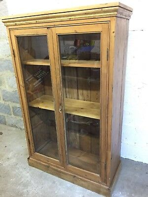 Antique Victorian Pine Glass Doored Floor Standing Bookcase