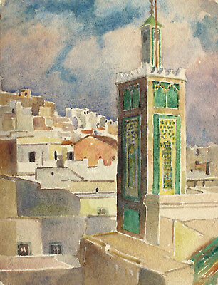 WATERCOLOUR View of TANGIER, Morocco by C.H. ca 1950s on Arches Paper