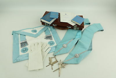 Job Lot Assorted Vintage MASONIC Regalia Inc. Aprons, Collars, Books Inc. Case