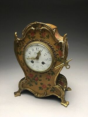 Antique Garbet A Paris French Chiming Mantle Clock Toleware Bronze Mounted Case