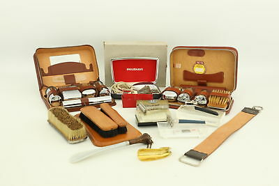 Job Lot of Vintage Gents Grooming Mixed inc. Travel Kits, Brushes, Clippers