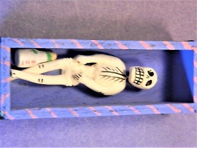 Day of the Dead Minature Clay Skeleton Drinker in Coffin With Liguor Bottle/1985