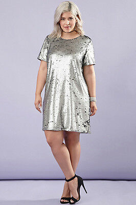 FOREVER 21 PLUS Size Black Silver Sequin Shift Party Dress XL/1X ...