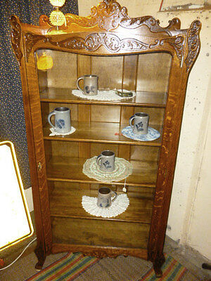 Antique Oak Cabinet curio Bookcase china Ornate tiger oak refinished 1900's