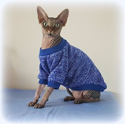 ADULT long sleeves MARL BLUE jumper for a Sphynx  cat, clothes, jumper sweater