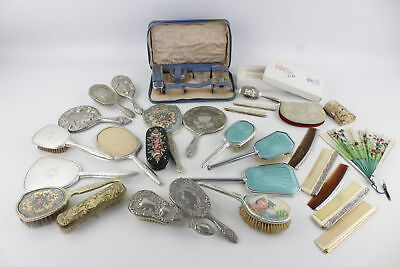 Job Lot Vintage Mixed Ladies Vanity Inc.Brushes, Hand-Held Fans & Mirrors Etc