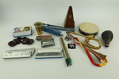 Job Lot of Assorted Vintage MUSICAL Instruments Inc. Harmonicas, Tambourine