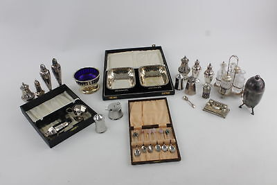 Job Lot of Assorted Vintage Silver Plate & Other Metals Table Condiments