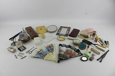Job Lot of Vintage Ladies Vanity Inc. Mother of Pearl, Gloves & Perfume Bottles