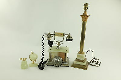 2 x Vintage Alabaster Telephone & Column Lamp Untested