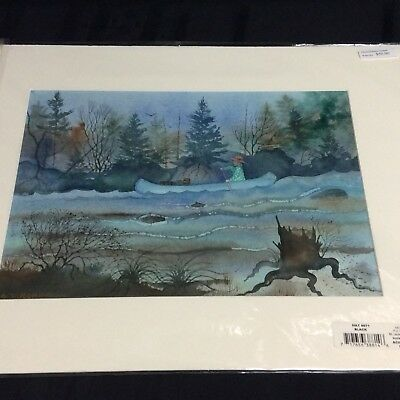 """Original watercolor by: Edward T. Robinson ; """"Man Canoeing""""   (A-front-floor)"""