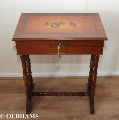 Vintage Small Yew Sewing / Curio Table - Lockable - With Drawer