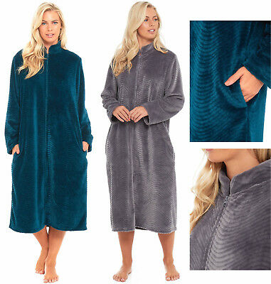 Womens Fleece Dressing Gown Zipped Long Length Ladies Teal Turquoise Blue Grey