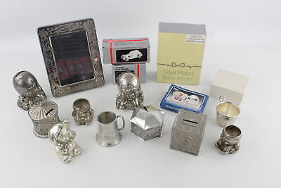 Job Lot of Vintage Assorted Silver Plate Money Boxes & Christening Gifts