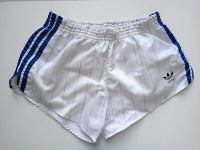 Adidas Shorts D6 weiß Pinstripes (shiny retro vintage nylon Turnhose)