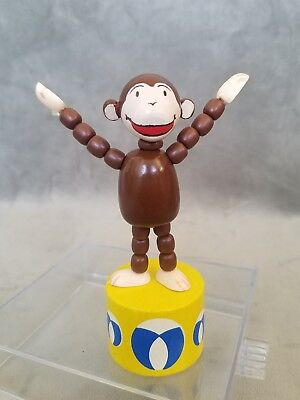Vintage CURIOUS GEORGE Wooden Hand-Painted PUSH-UP Press Action PUPPET TOY