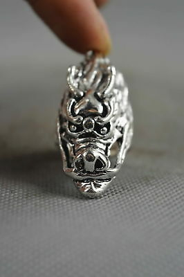 Decorate Collectable China Miao Silver Carve Zodiac Dragon Woman Ring Usable