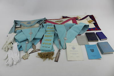 Job Lot Assorted Vintage MASONIC Regalia Inc. Aprons, Collars, Jewels & Books