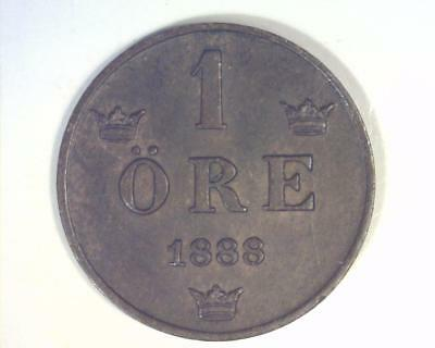 Sweden 1888 One Ore Km#750 About Uncirculated   ~1002004