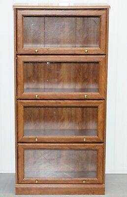 Folding Glass Doored Library Legal Bookcase Simulated Mahogany Minty Globe Etc