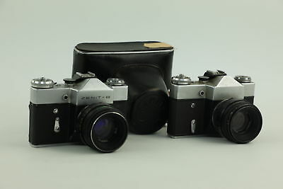 2 x Vintage ZENIT B 35mm Film Cameras With 58mm Lens Appear To Be Working
