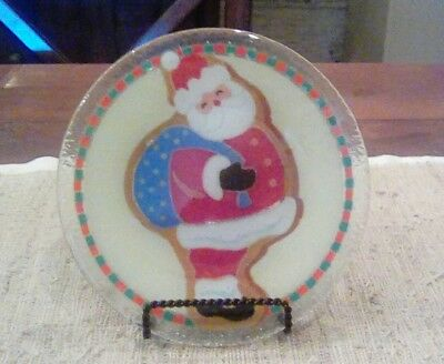 "Peggy Karr RARE Santa cookie plate 8"" New."